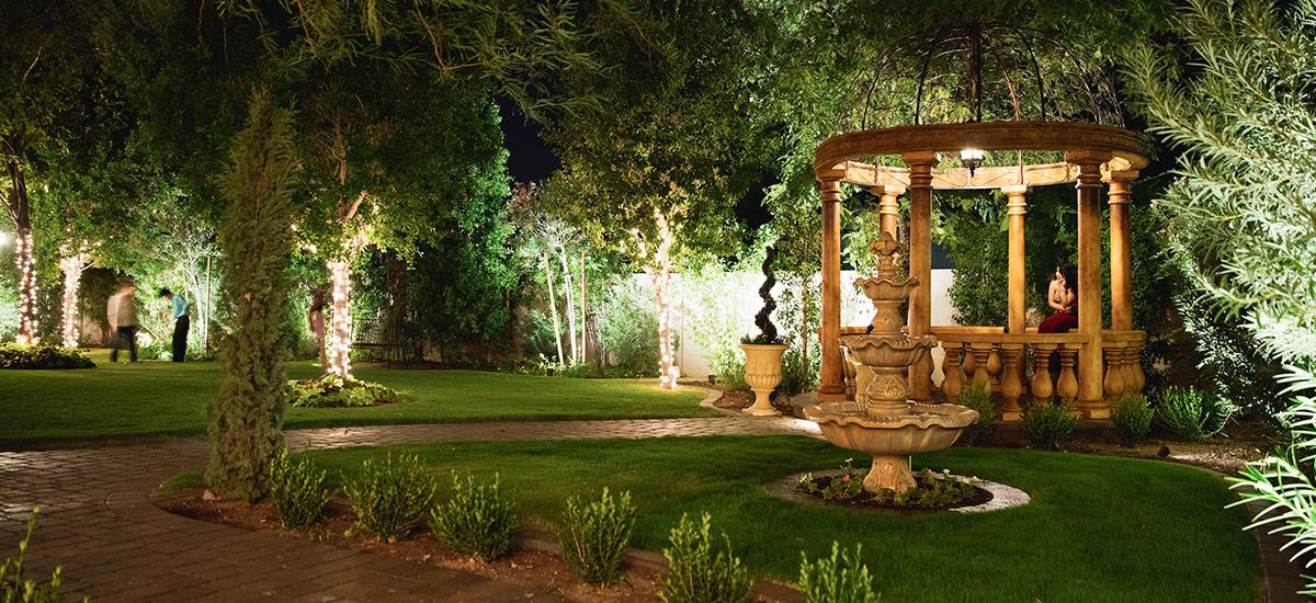 outdoor wedding reception garden view