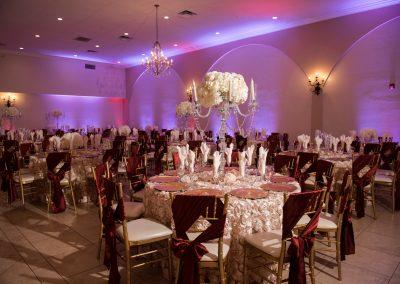 Reception Table Settings in Ballroom at Garden Tuscana