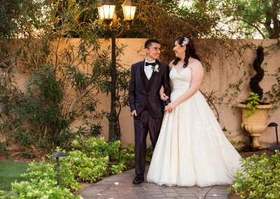 Roxana and Juan evening wedding photos in courtyard