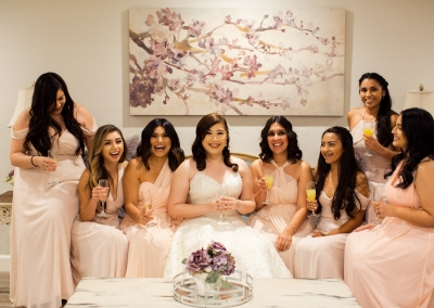 bridal party mimosas before wedding