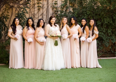 bridal party outside Garden Tuscana