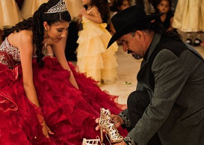 Quinceanera changing of the shoes ceremony at Garden Tuscana