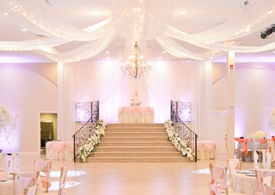 Garden Tuscana Reception Hall event in Mesa showing head table and dancefloor in ballroom
