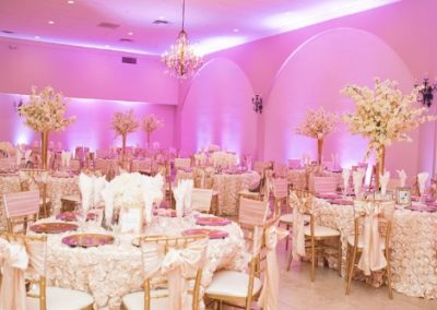 Garden Tuscana Reception Hall event in Mesa showing pink and gold ballroom for wedding reception