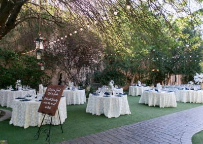 Garden Tuscana Reception Hall event in Mesa showing wedding reception tables outside in garden setting