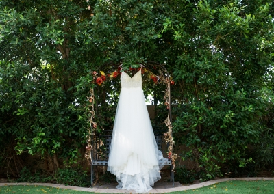 Garden Tuscana Reception Hall event in Mesa showing brides gown hanging outside