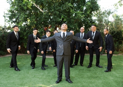 Garden Tuscana Reception Hall event in Mesa showing groomsmen and groom