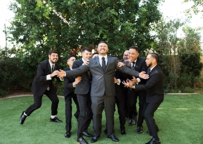 groomsmen and groom goofy