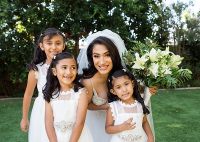Garden Tuscana Reception Hall event in Mesa showing bride with flower girls