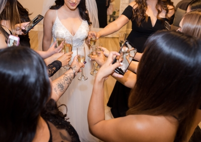 Garden Tuscana Reception Hall event in Mesa showing champagne cheers in bridal suite