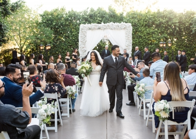 Garden Tuscana Reception Hall event in Mesa showing couple just married in outdoor ceremony