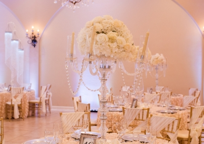 Garden Tuscana Reception Hall event in Mesa showing ballroom decorated in champagne and ivory