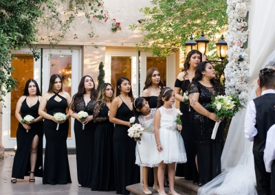 Garden Tuscana Reception Hall event in Mesa showing bridal party during wedding ceremony