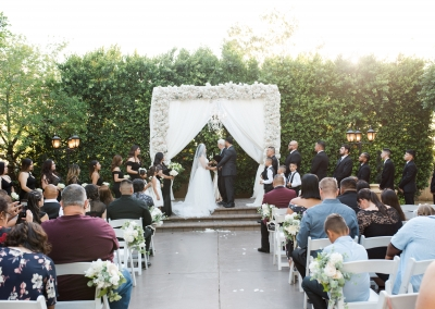 Garden Tuscana Reception Hall event in Mesa showing outdoor wedding in white