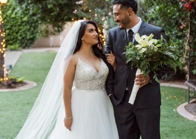 Garden Tuscana Reception Hall event in Mesa showing wedding photos in garden