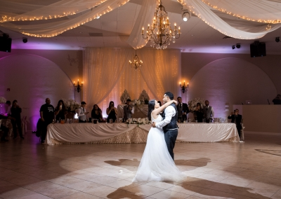 Garden Tuscana Reception Hall event in Mesa showing bride and grooms first dance during reception