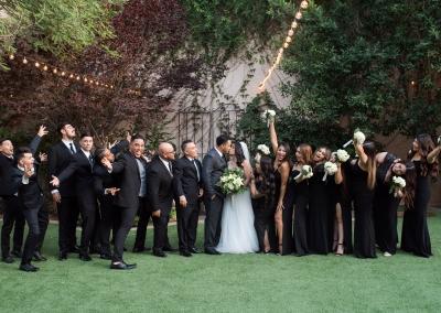 Garden Tuscana Reception Hall event in Mesa showing outdoor wedding party photo opp in garden