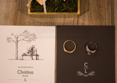 Garden Tuscana Reception Hall event in Mesa showing wedding rings on top of invitation