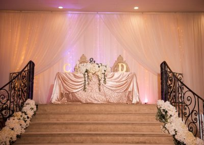 Garden Tuscana Reception Hall event in Mesa showing wedding head table