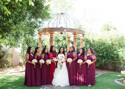 Bride and Bridesmaids Photos in Garden at Garden Tuscana
