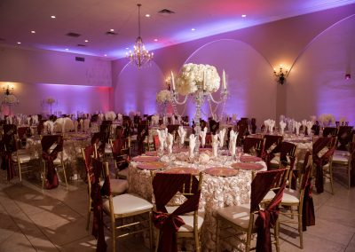 Reception Table Settings in Ballroom at Garden Tuscana