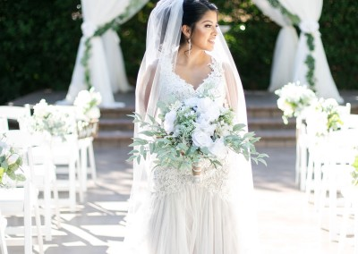 Garden Tuscana Reception Hall event in Mesa showing bride in front of ceremony space