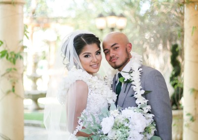Garden Tuscana Reception Hall event in Mesa showing beautiful couple in garden after ceremony
