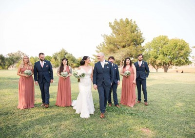 Garden Tuscana Reception Hall event in Mesa showing married couple with bridesmaids and groomsmen