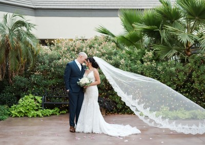 Garden Tuscana Reception Hall event in Mesa showing bride and groom outside