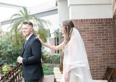 Garden Tuscana Reception Hall event in Mesa showing bride surprising groom